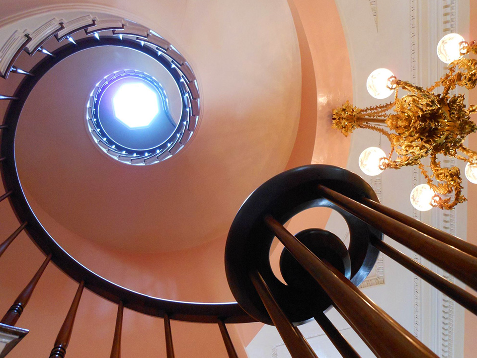 A look up at the spiral staircase