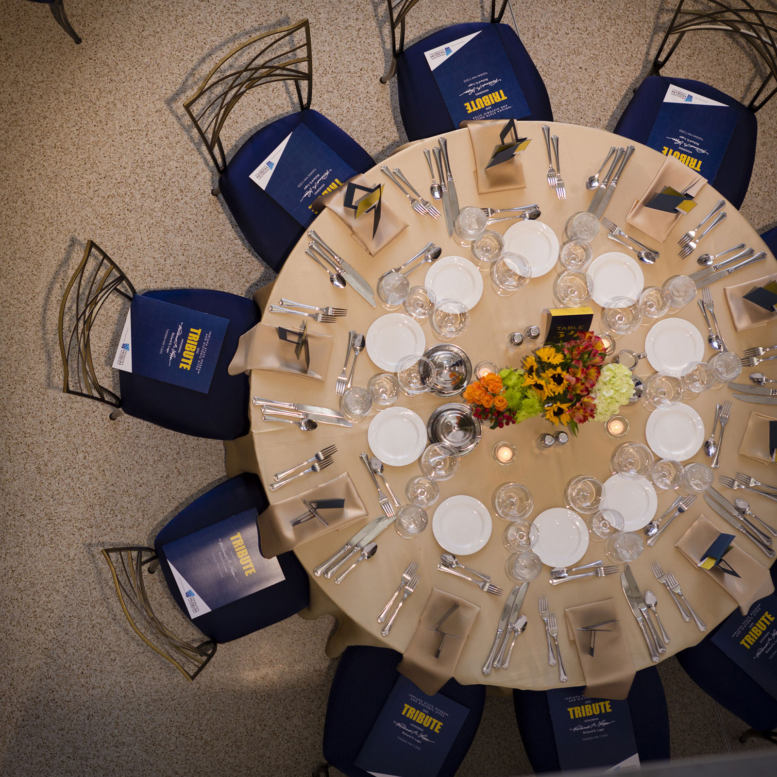 Table Setting in the Dean and Barbara White Auditorium