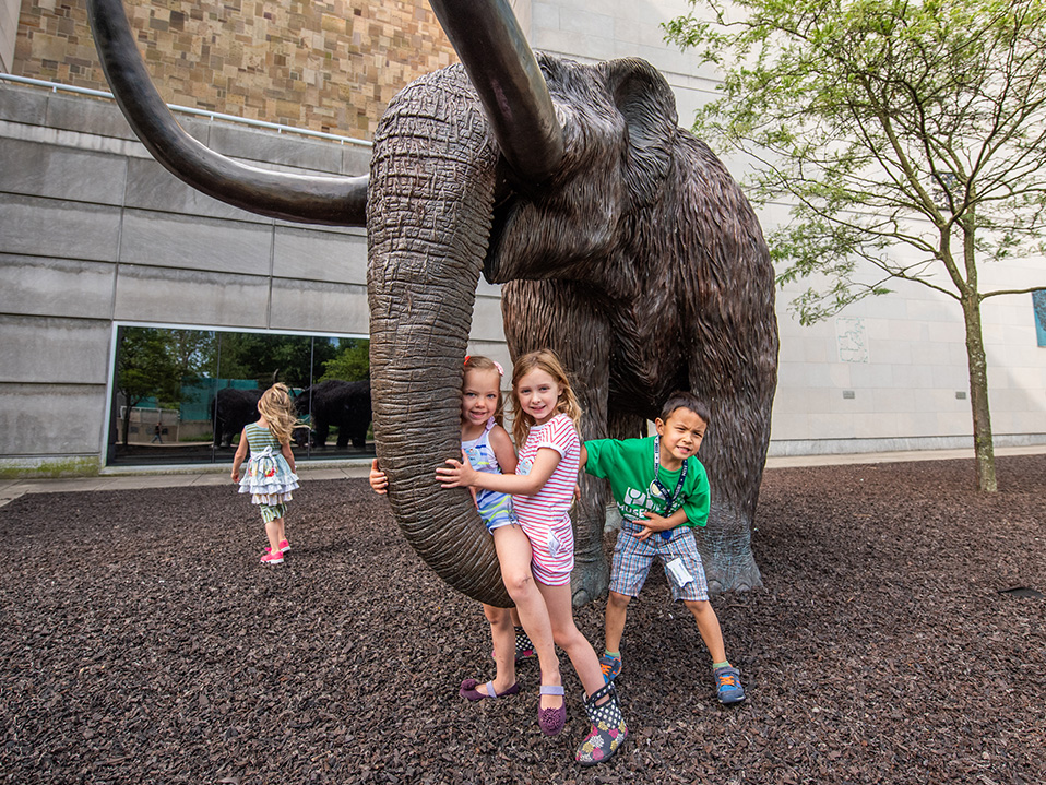 Kids at Mastodon Statues